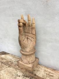 Gave grote oude vergrijsd houten hand ornament oud beeld landelijk industrieel vintage stoer