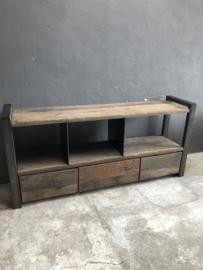 Industrieel landelijk dressoir kast tv meubel televisie 3 ladenkast metaal hout 170 x 40 x 80 cm