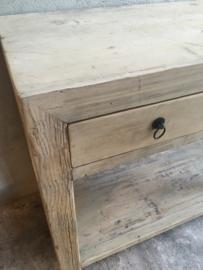 Olmwood olmenhout Sidetable ladekast 100 x 44,5 x H81 cm wastafel wastafelmeubel badmeubel landelijk licht naturel hout