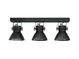 Industriële oud gerecycled metalen hanglamp wandlamp vintage urban zwarte zwart plafondlamp 3 spots spot kappen metaal verstelbaar landelijk stoer vintage zwart