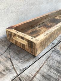 Oud truckwood houten tray dienblad schaal bak landelijk stoer robuust industrieel
