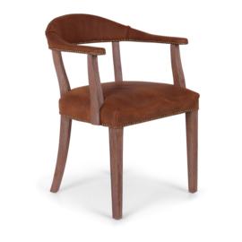 Degelijke stoel houten frame met cognac bruin leren zitting bekleding landelijk stoer vintage industrieel stoelen met armleuning