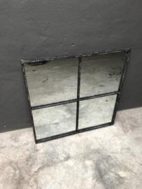 Groot zwart/wit/grijs metalen stalraamspiegel 80 x 80 cm vierkant vierkante palace pomax stalraam kozijn venster tuinspiegel spiegel zwart kozijn venster landelijk industrieel vintage