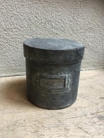 Grijs metalen pot voorraadpot suikerpot groot blik stoer industrieel landelijk trommeltje voorraadblik trommel