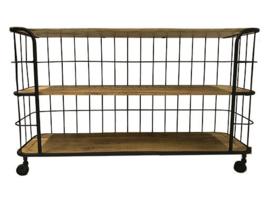 Grote lange industriële trolley kar dressoir kast op wieltjes 140 x 42  x 84 cm Sidetable metalen frame oude houten planken werkbank hout houten keukeneiland industrieel landelijk stoer zwart