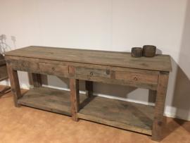 Stoer houten sidetable tafel ladekast wastafel werkbank bassano dressoir bureau landelijk stoer robuust vergrijsd hout kookeiland keukeneiland