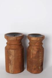 Stoere houten kandelaars kandelaar L landelijk robuust hout metaal Brocant industrieel vintage