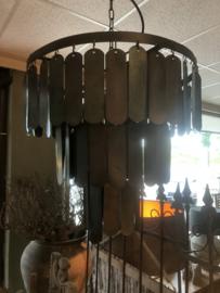 Zwart metalen Hanglamp Lamel 45 cm industrieel stoer landelijk kroonluchter