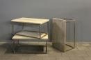 Landelijke bijzettafel salontafel oude deur blank naturel hout met grove nerf industrieel metalen onderstel