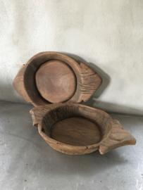 Oud houten schaal robuust stoer landelijk hout bak