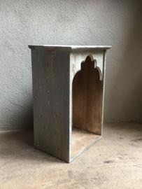 Grijs Houten kast kastje spiegel nisje nis tempel Oosters wandkastje wandplank landelijk stoer