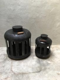 Mega Grote XL metalen lantaarn windlicht metaal zwart stoer urban shabby industrieel  landelijk