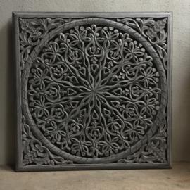 Stoer landelijk oud houten wandpaneel ash grey grijs grijze wandornament wanddecoratie 90 x 90 cm hout panelen luiken