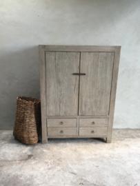 Prachtig vergrijsd houten kast landelijk stoer sober grijs hout houten televisiekast tv-kastje televisiemeubel