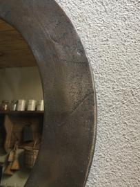 Ruw nikkel nickel metalen spiegel Rond 80 cm ronde industrieel modern strak eenvoudig sober landelijk mat