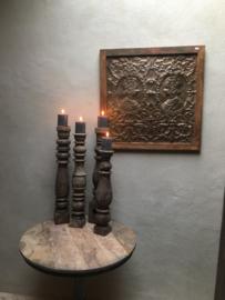 Prachtig groot metaal houten Wandpaneel bruin aura Peeperkorn the queen 69 x 69 cm