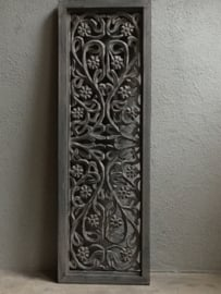 Stoer landelijk oud houten wandpaneel 90 x 30 cm grijs grijze dubbelzijdig wandornament wanddecoratie hout panelen luiken