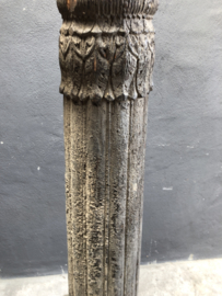 Prachtige stoere grote oude vergrijsd houten lampenvoet staande lamp vloerlamp balluster baluster balusterlamp 150 cm pilaar