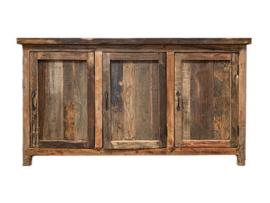 Oud houten dressoir wandmeubel wandkast sidetable sideboard landelijk stoer robuust industrieel 160 x 44 x 88 cm