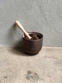 Nieuwe nostalgische houten bloempotborstel ( wcborstel toiletborstel ) hout brocant landelijk bloempotborstel nostalgie