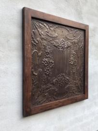 Stoer houten metalen Wandpaneel 70 x 70 cm wanddecoratie hout metaal combi landelijk industrieel vintage urban bruin