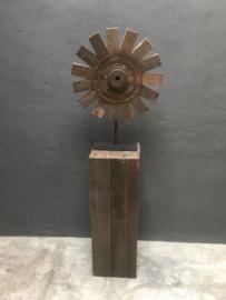 Grote oud houten sokkel zuil pilaar landelijk 80 x 27 x 27 cm