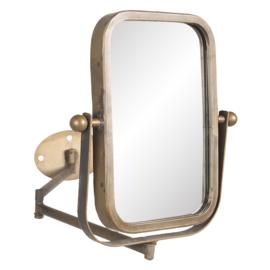 Metalen draaibare spiegel make-up scheer spiegel toiletspiegel rechthoekig badkamer vintage landelijk stoer industrieel brons koper old oud look grijsbruin