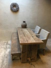 Stoere grof houten tafel bureau buro sidetable landelijk grove nerf