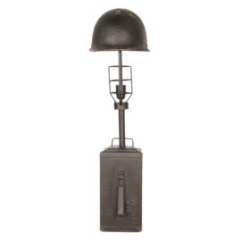 Metalen lamp tafellamp leger legerhelm Army groen khaki legergroen helmlamp stoer vintage landelijk industrieel