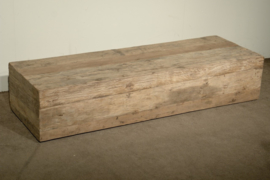Stoere oud vergrijsd houten landelijke salontafel sidetable tvmeubel televisie landelijk