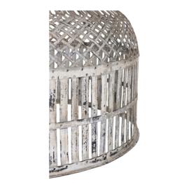 Grote smeedijzeren korflamp korf lampekap inclusief bedrading hanglamp lampenkap vintage beige gebroken wit retro urban mand landelijk industrieel