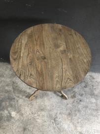 Rond houten wijntafel beetje vergrijsd wijntafeltje bijzettafel bijzettafeltje landelijk 50 cm