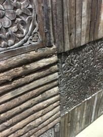 Groot houten Wandpaneel 120 x 120 cm vergrijsd doorleefd oud hout landelijk stoer vintage