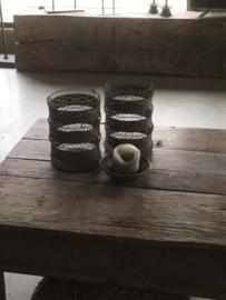 Prachtig metalen mand windlicht korf bak medium schaal vergrijsd matbruin poederachtig lantaarn basket metal vintage landelijk industrieel sober oosters