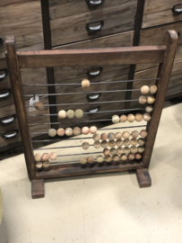 Orgineel oud houten telraam school kinderkamer kids bruin vintage landelijk stoer industrieel