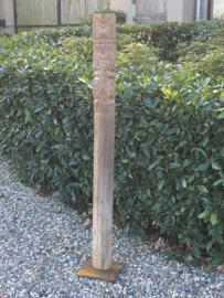Grote houten ornament paal stronk balk totempaal baluster steunpaal op voet losstaand houtsnijwerk cm landelijk vintage oosters