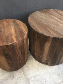 Stoere grof houten ronde bijzettafel tafel Salontafel tafeltje bijzettafeltje rond hout landelijk industrieel stoer vintage
