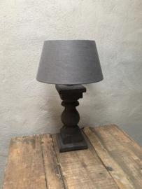 Stoere vergrijsd mat zwart antraciet zwarte grijze houten balusterlamp stoer industrieel ballusterlamp tafellamp 35 cm tafellamp landelijk stoer robuust