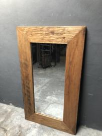 Houten spiegel robuust landelijk grof hout groot 140 X 80 cm teakhout vintage
