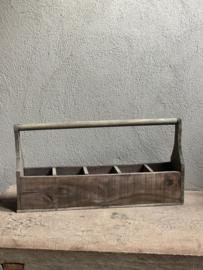 Vergrijsd houten trog bak vakkenbak wijnrek flessenrek landelijk gruttersbak dienblad vergrijsd stoer