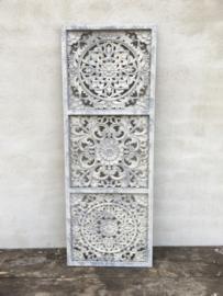 Grijs beige metalen wandpaneel wanddecoratie wandbord wandornament andelijk rustiek sober lichtgrijs