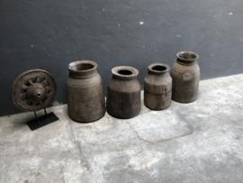 Mega Grote oude vergrijsd houten pot kruik vaas Nepal landelijk stoer vintage industrieel