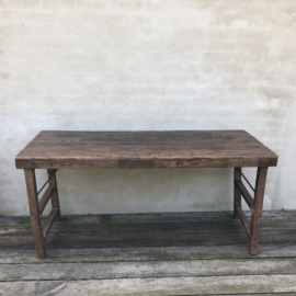 Oude landelijke industriële klaptafel markttafel Sidetable eettafel tuintafel buro bureau werkbank werktafel markttafel oud vintage stoer