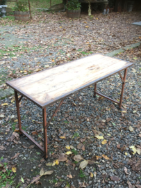 Oude landelijke industriële eettafel tuintafel 153 x 62 x 73 cm buro bureau klaptafel werkbank werktafel oud vintage stoer