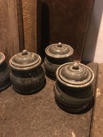 Stenen potje met deksel suikerpot pot landelijk stoer