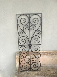 Smeedijzeren paneel hek rek ornament wandpaneel raamdecoratie hekje industrieel vintage landelijk brocant