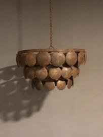 Stoere ijzeren Lampekap 60 cm bruin/roest ornament landelijk urban ronde plaatjes schelpen