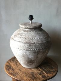 Stoere grote landelijke stenen kruiklamp lamp landelijk grijs beige