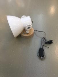 Industriële metalen spotje hanglamp wandlamp 1 wit witte kap spot spot plafondlamp plafoniere metaal verstelbaar landelijk stoer vintage