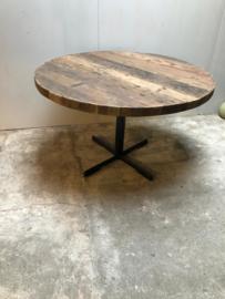 Grote ronde houten eettafel tafel met metalen onderstel 120 cm rond landelijk industrieel vintage